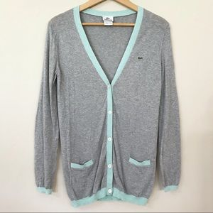 Lacoste Button Down Cardigan Heather Gray Mint
